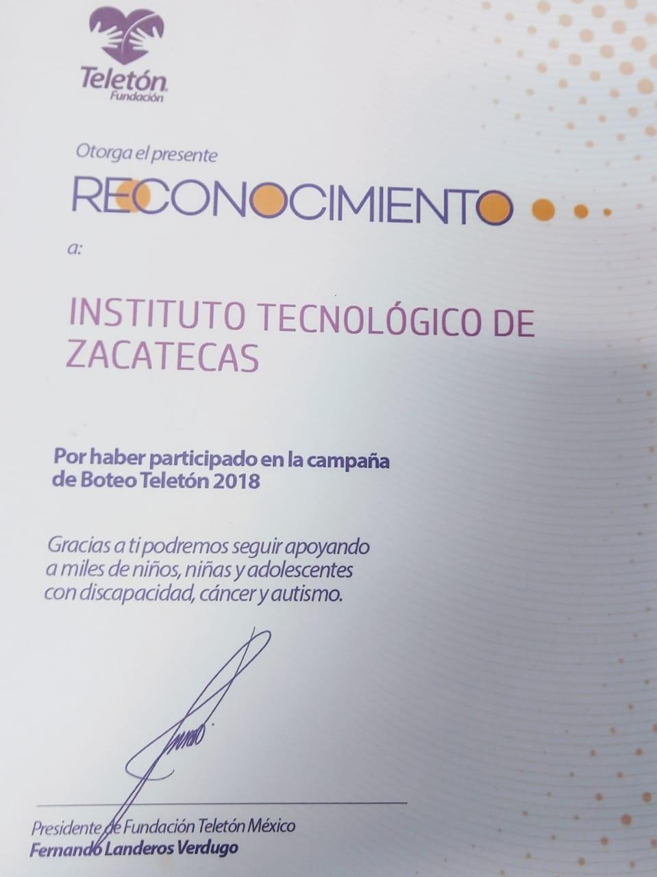 FUNDACION TELETON OTORGA RECONOCIMIENTO AL INSTITUTO TECNOLOGICO DE ZACATECAS